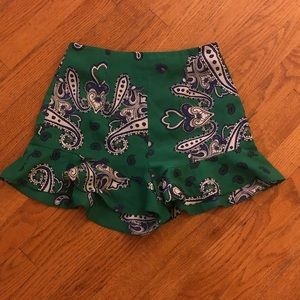Zara crepe shorts with ruffle hem